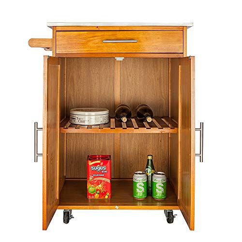 Hobbyn Kitchen Trolley Cart Modern Rolling Kitchen Trolley Cart W Drawer Wine Rack Stainless Steel Table Top Kitchen Furniture Storage Stainless Steel Table