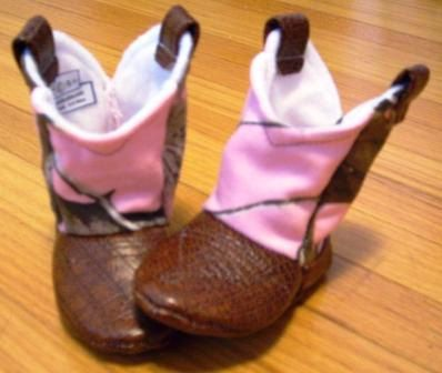 Pink Camo Baby Cowboy Boots with Leather | Preemie | Newborn | 3-6 ...