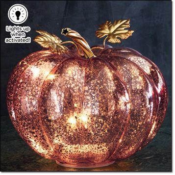 Autumn Romance Light-Up Pumpkin Glass
