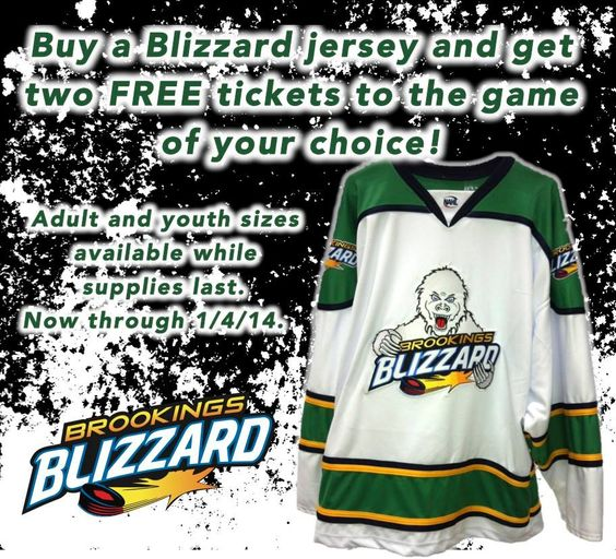 Looking for last minute gift idea? Call the Blizzard office at 605-592-9114 and get a Blizzard replica jersey and get two tickets to the game of your choice. Offer good through 1/4/14 while supplies last. #BlizzGear #Brookings #merchandise