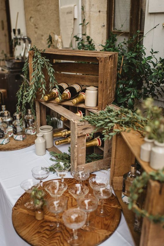 27 Rustic Wedding Decorations You Must Have A Look Wooden Crates Used As Drink Statio Rustic Elegant Wedding Rustic Wedding Decor Country Wedding Decorations