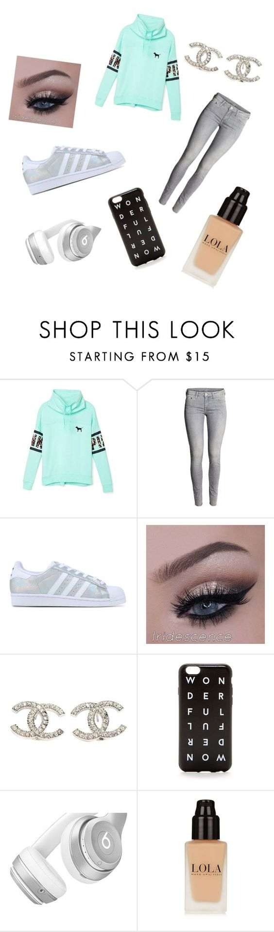 """Grey "" by tiiitegirly ❤ liked on Polyvore featuring Victoria's Secret, adidas Originals, Chanel, Beats by Dr. Dre, women's clothing, women, female, woman, misses and juniors"