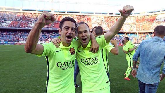 Xavi Hernández y Andrés Iniesta campeones, Visça Barça