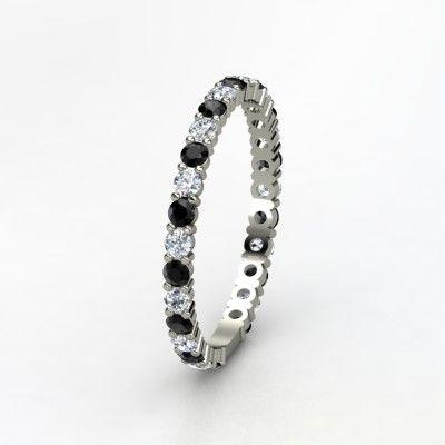 14K White Gold Ring with Diamond & Black Diamond - Side