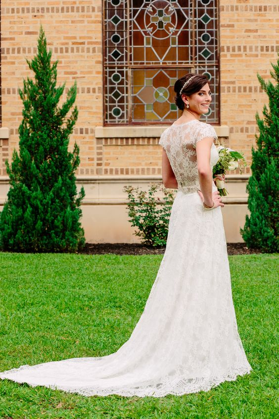 """Stunning real bride Tatiana in the Claire Pettibone 'Brigitte' wedding dress (with an extended train) from the Claire Pettibone Flagship Salon / #TheCastle in Los Angeles 
