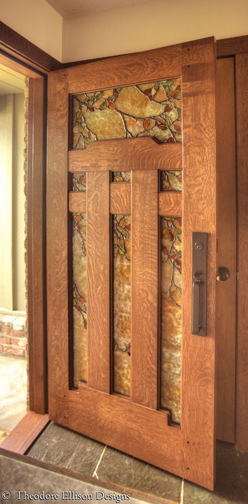 Dunsmuir Door with Fall Leaf Art Glass by Theodore Ellison Designs and The Craftsman Door Company: