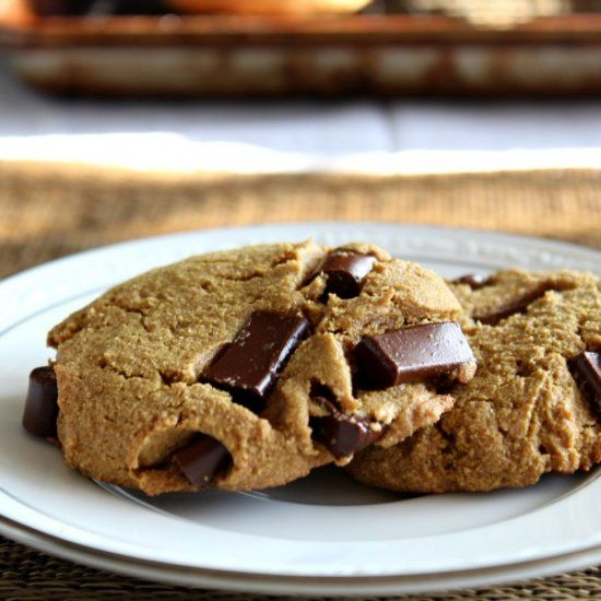 Big, soft Paleo Chocolate Chunk Cookies made with coconut flour - with a nut free option using sunflower butter.