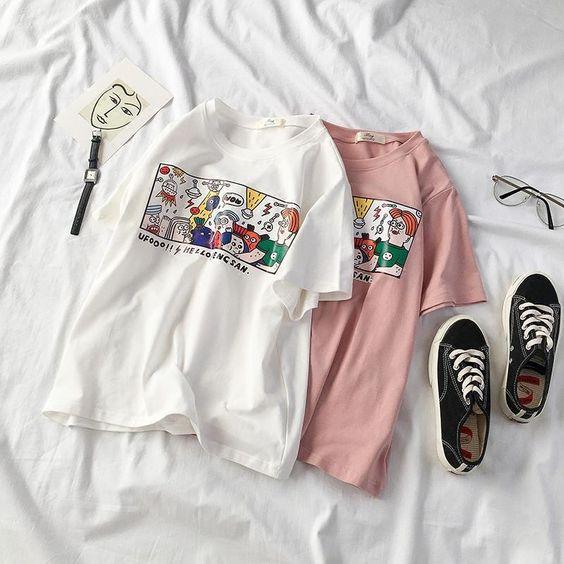 T-shirt - WHITE PINK COTTON T-SHIRT PRINTING KOREA HARAJUKU