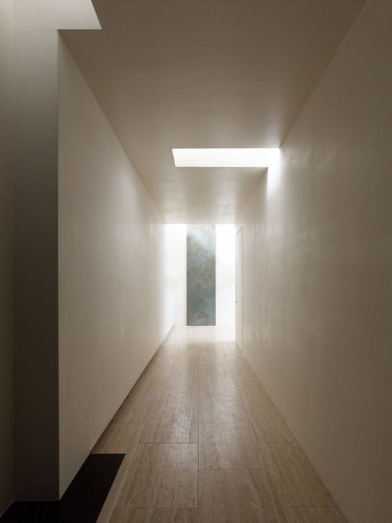 Minimalist House A Geometric Interior Light Pattern And Ceiling Detail In The Hallway The N