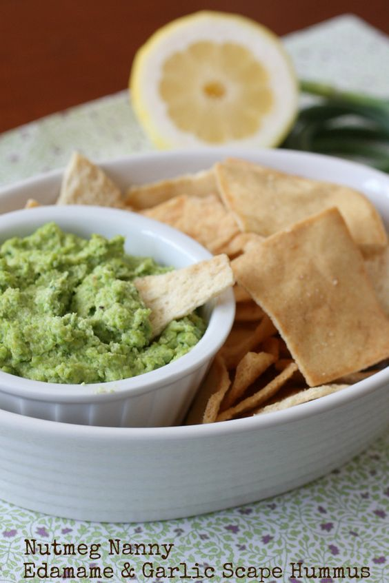Edamame and Garlic Scape Hummus - sounds interesting