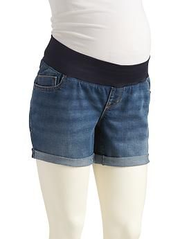"Maternity Cuffed Denim Shorts (5"") 