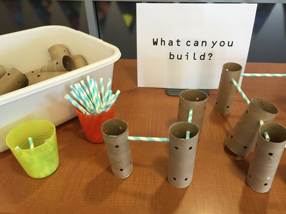 Homemade tinker toys in the library - No budget?  Use toilet paper or paper towel tubes and straws to make your own building components for a library center!: