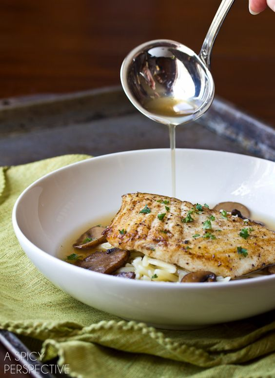 Rustic Brown Butter Halibut with Orzo and Mushroom Broth | ASpicyPerspective.com #pasta #dinnerparty #delallo