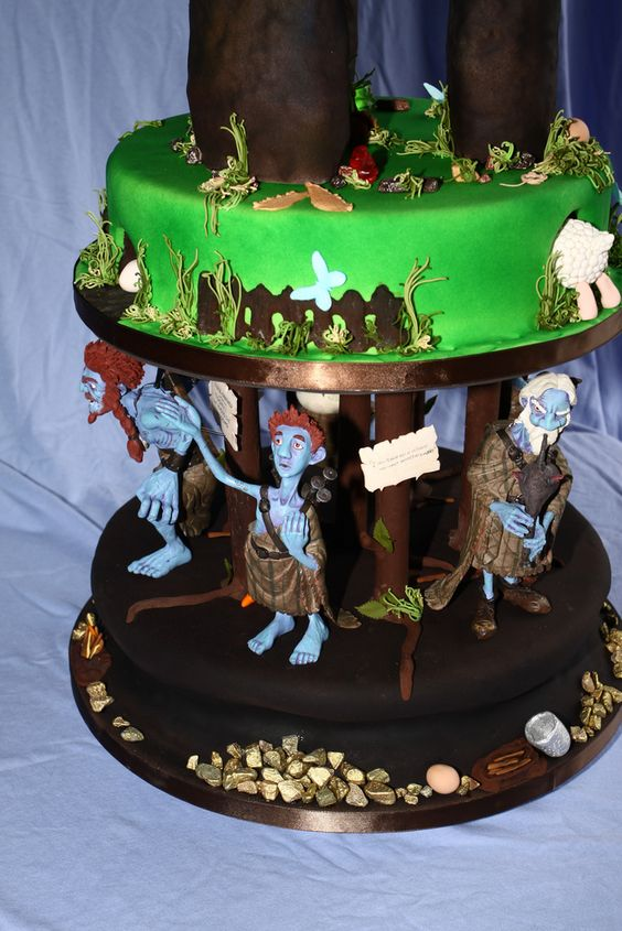 https://flic.kr/p/8gzFMn | Terry Pratchett Nac Mac Feegle Cake-Underground layer | The main cake consisted of dummies, the book and blue tobacco pouch were the cakes, the rest was made from rice crispie treats, all covered with home made marshmallow fondant. The figurines/family tartan fabric were supplied by the bridal couple. Each tier of the main cake represented different sections of the book, so those of you who read Terry Pratchett books will understand. I tried to include as much…