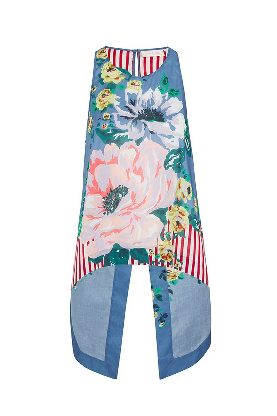 TWIN ROADS - cutaway shoulder loose fit tank with seam detail & centre back split hem. top features all over soft floral digital print.