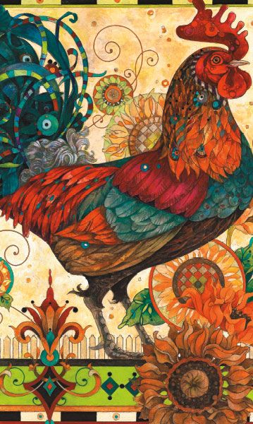 """Rooster is a 500 piece jigsaw puzzle in the Art Gallery series from MEGA Puzzles. Puzzle measures 10.75"""" x 18"""" when complete.  The Art Gallery series includes:    Birds Winter Haven  Evening Song  Fat Cats  Frog Friend Koi Pond  Rooster  Wagons and Geeps:"""