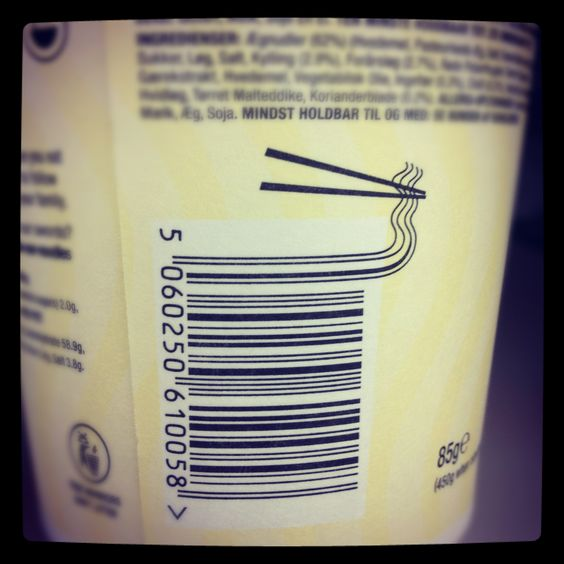 Epic barcode design on a noodle box - this October marks the 60th anniversary of the barcode