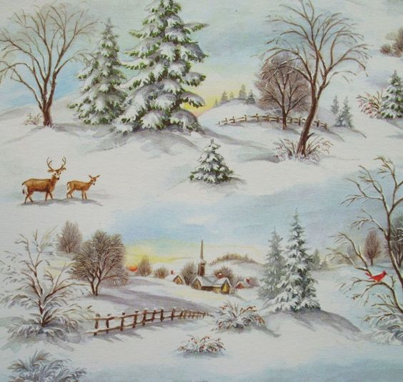 Vintage hallmark winter deer scene christmas wrapping for Outside christmas scenes
