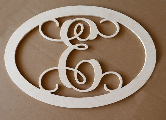 24 inch Vine connected single monogram letter-  OVAL with BORDER- unfinished, wooden wall letter $28.00 + $14.95 shipping, via Etsy.