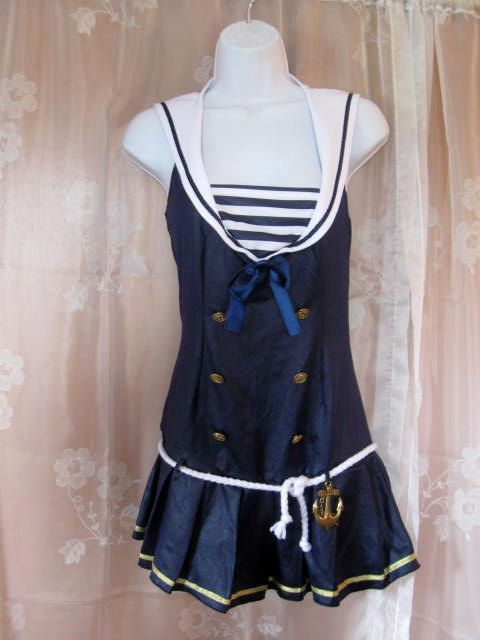 Vintage Nautical Bathing Suit Top size S/M by jonscreations