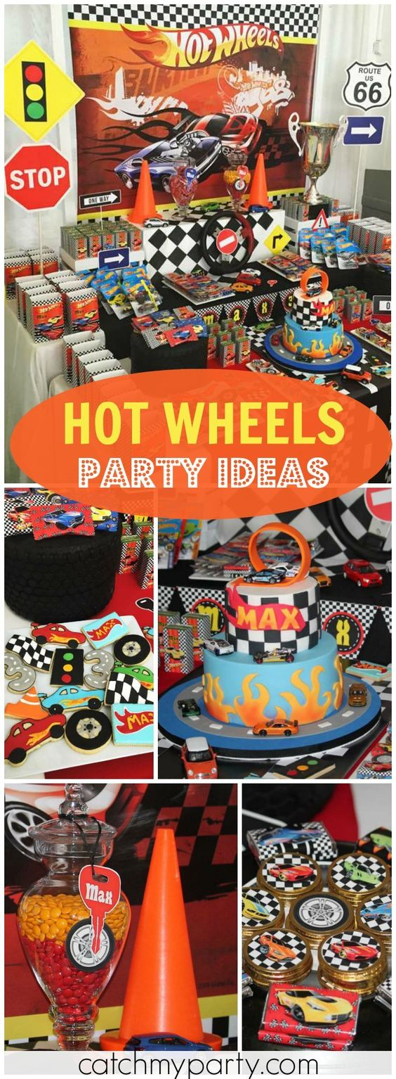 How awesome is this Hot Wheels boy birthday party?! See more party ideas at Catchmyparty.com!