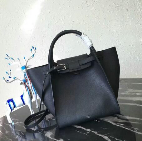 a3d17642b360 2018 Celine Spring Summer- Celine Medium Big Bag in Black Supple Grained  Leather