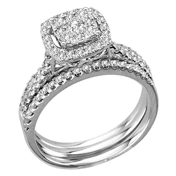 1 carat Halo Cluster Princess Cut Diamond Engagement Wedding Set in 14K White
