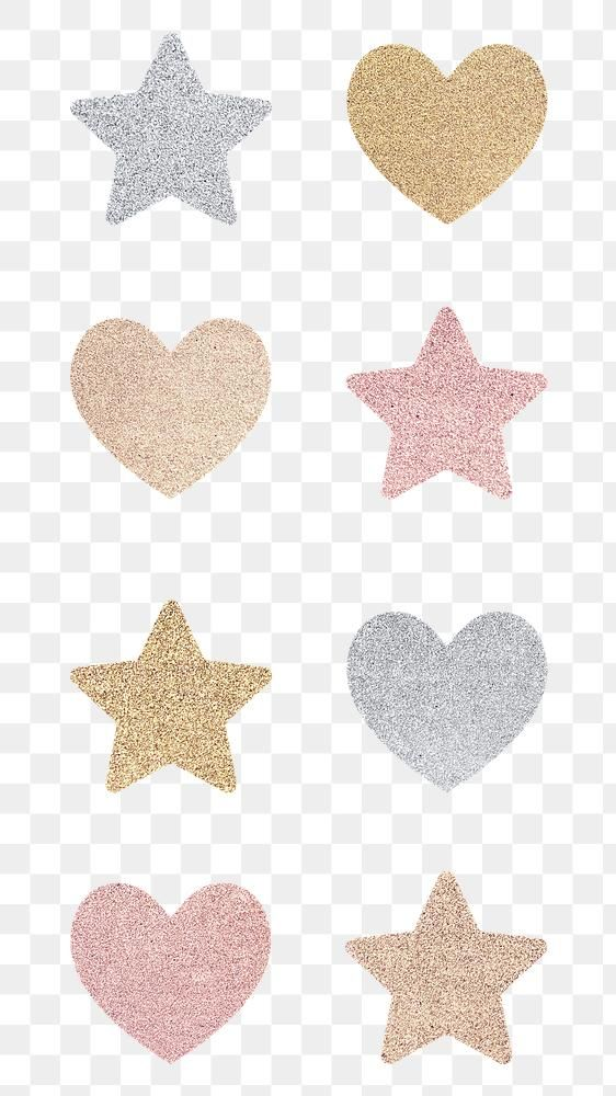 Glitter Heart And Star Sticker Set Transparent Png Free Image By Rawpixel Com Ningzk V Star Stickers Sticker Set Pink Glitter Background