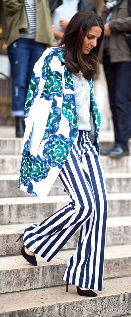 Lovin these slacks!!    The Street Clique: Paris Style  - HarpersBAZAAR.com