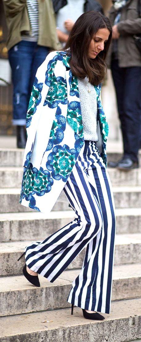 Lovin these slacks!!    The Street Clique: Paris Style  - HarpersBAZAAR.com