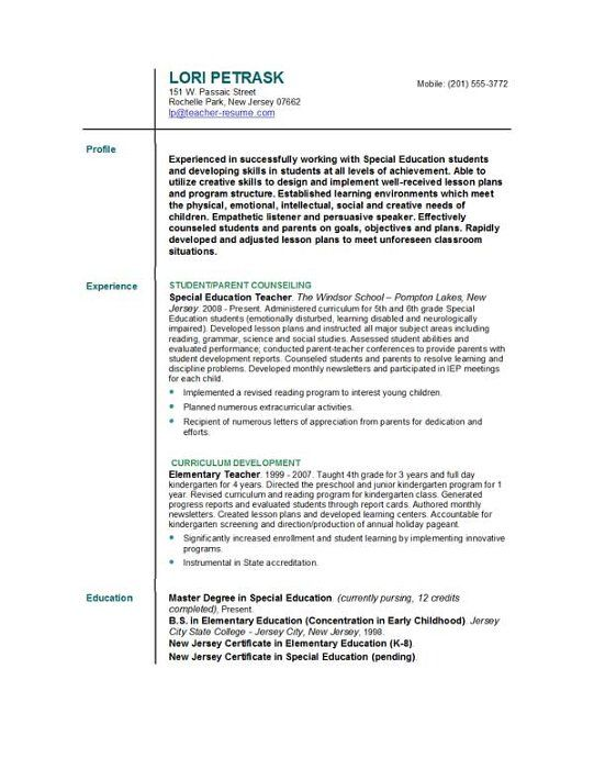 resume format for teacher teachers best profile examples and cover - resume for daycare teacher