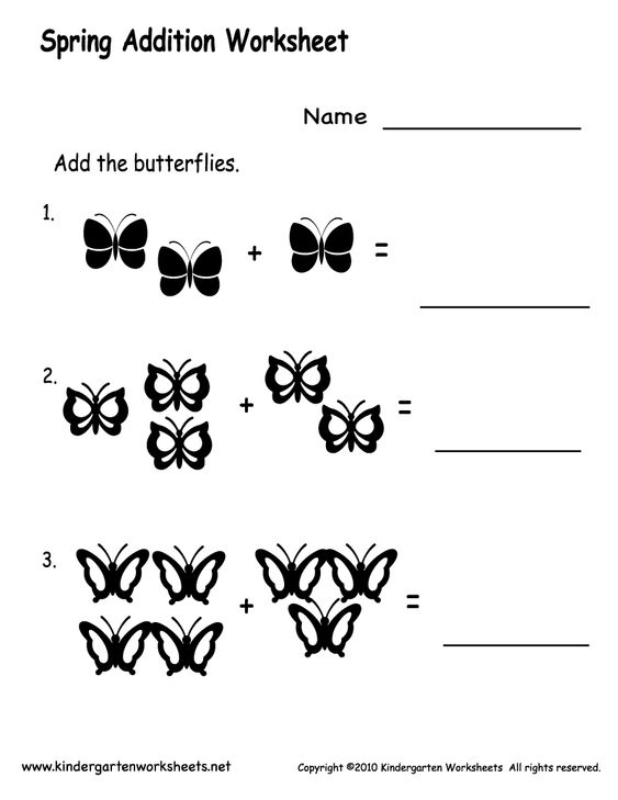 printable kindergarten worksheets – Kindergarten Adding Worksheet