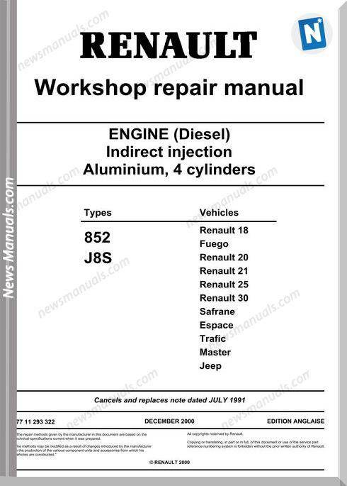 Renault Engine Diesel Motor 852 J8s Renault Diesel Engineering