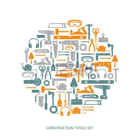 outils construction: Icônes des outils de construction de vecteur ensemble. collecte des équipements à la main dans le style plat.