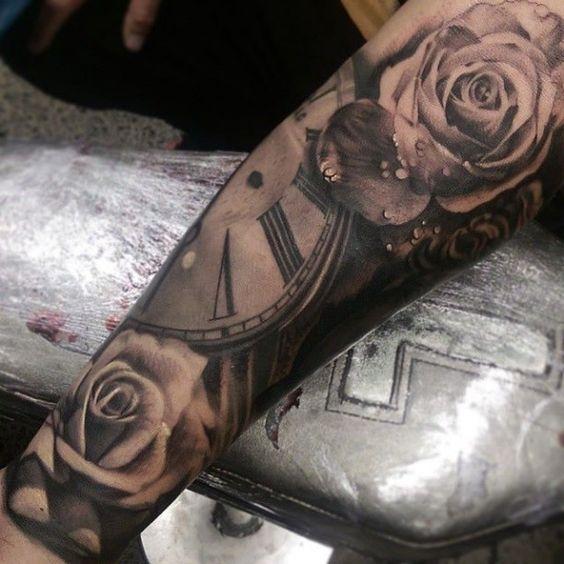 tattoo uhr mit rosen in 3d zuk nftige projekte. Black Bedroom Furniture Sets. Home Design Ideas