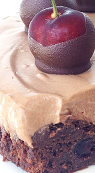 Chocolate Cherry Brownie Mousse Pie. Enjoy RushWorld boards,  FANCY DESSERT RECIPES YOU CAN DO THIS,  WEDDING CAKES WE DO,  UNPREDICTABLE WOMEN HAUTE COUTURE and ART A QUIRKY SPOT TO FIND YOURSELF.  See you at RushWorld on Pinterest! New content daily and always something you'll love.