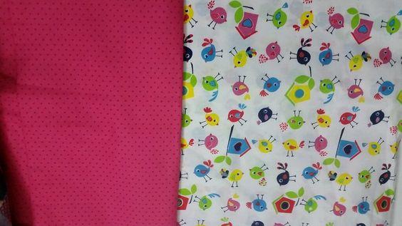 Veja nosso novo produto Kit de tecidos, poá com pássaros.! Se gostar, pode nos ajudar pinando-o em algum de seus painéis :)