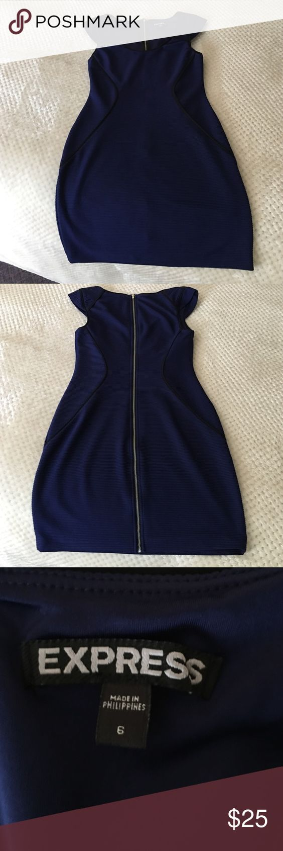 NWOT Express Dress Gorgeous blue dress with silver zipper detail on the back. Never worn. Express Dresses