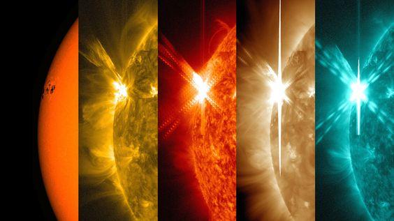 El observatorio de la NASA Solar Dynamics, que observa el sol constantemente, captó estas imágenes de una llamarada solar significativa – como se ve en el flash brillante a la izquierda – alcanzando su máximo a las  6:11 p.m. EDT el 05 de mayo de 2015. Crédito de la imagen: NASA/SDO/Wiessinger