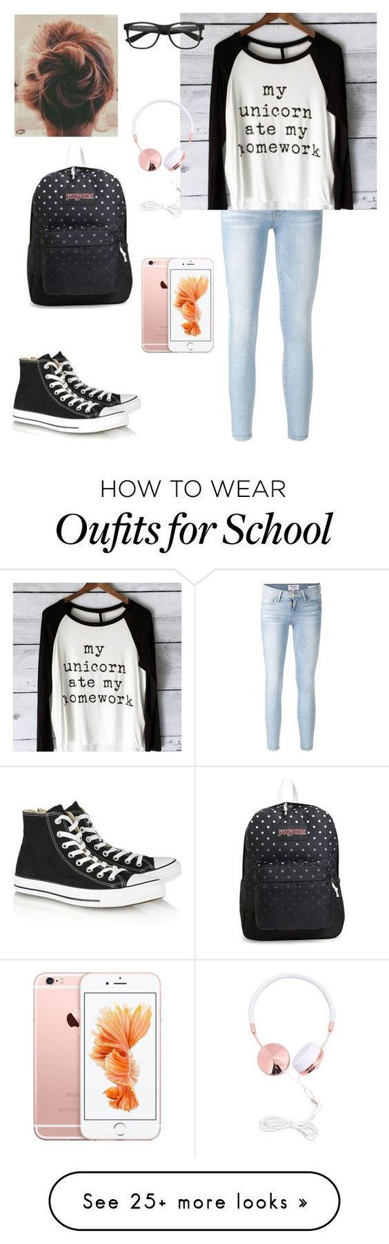 """casual school day"" by jmehta02 on Polyvore featuring Frame Denim, Converse and JanSport:"
