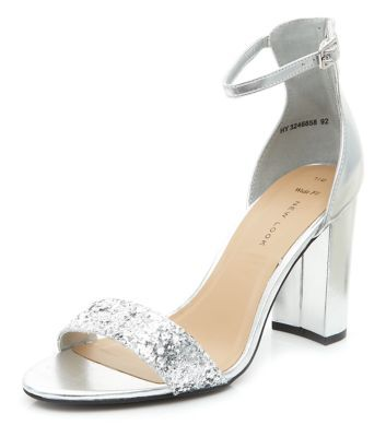 Wide Fit Silver Glitter Front Ankle Strap Block Heels | Shoes