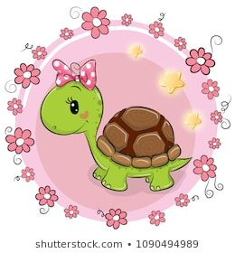 Greeting Card Turtle With Flowers On A Pink Background Cute Turtle Cartoon Cute Drawings Cute Turtles