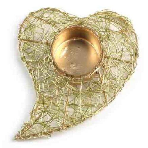 Drahtherz mit Teelichthalter in Gold Bild 1
