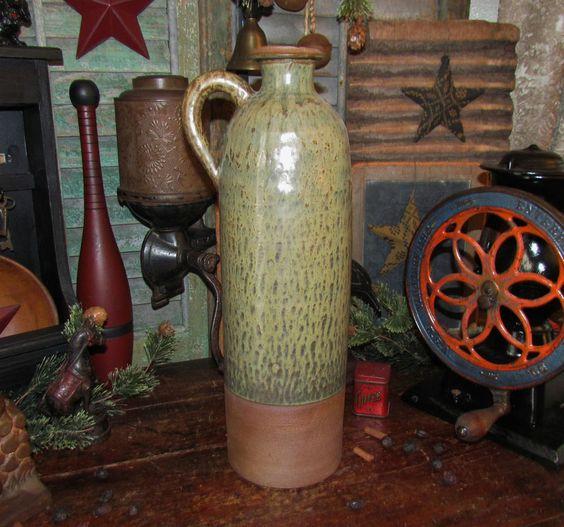 """Primitive Antique Vtg Style Lg. 16"""" Ceramic Stoneware Jug Bottle Vase Jar Crock #NaivePrimitive"""