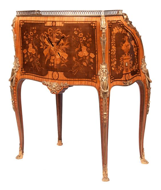 """Extraordinarily beautiful cylinder bureau Height:. 100 cm Width: 82 cm. Depth:. 51 cm Brass label on the lock inscribed """"SORMANI / PARIS"""". Paris, 19th century. Note: This piece of furniture is a copy by the Sormani manufactory after the famous writing bureau, Which David Roentgen created for Marie Antoinette around 1780 - 1790."""