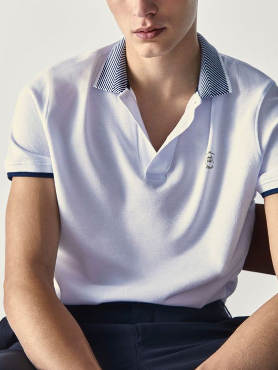 Polo Escudo Detalle Contraste Caballero Massimo Dutti Espana Camiseta Hombre Hombres Polo Hombre