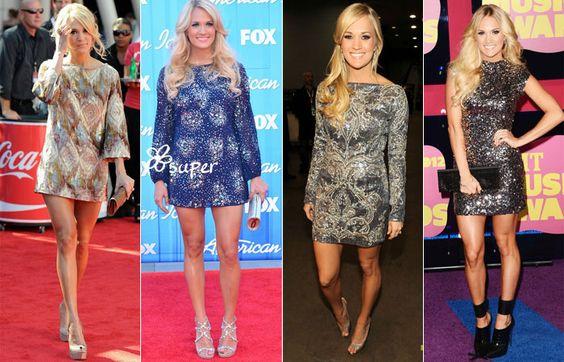 Nas noites de evento Carrie continua com paleta de cores discretas mas investe em brilho! Ela gosta de mostrar as pernas mas geralmente procura vestidos que possuam manga.