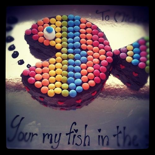 Fish, Smarties cake and Cakes on Pinterest