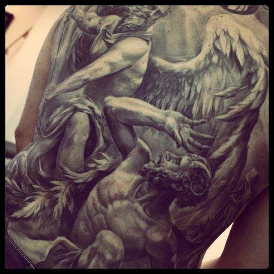 Amazing st michael back piece by carlos torres tats for Badass angel tattoos