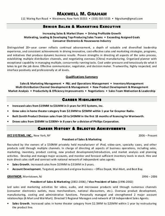Sales Executive Resume Format Are Really Great Examples Of